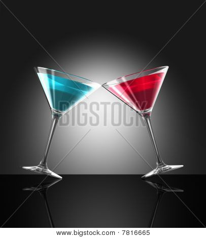 Red And Blue Cocktail Glasses