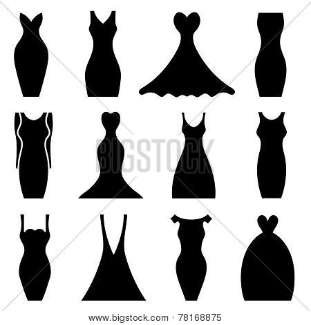 Women Dresses Icon Set