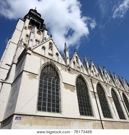 Notre Dame de la Chapelle (Kapellekerk) in Brussels Belgium. Square composition. poster