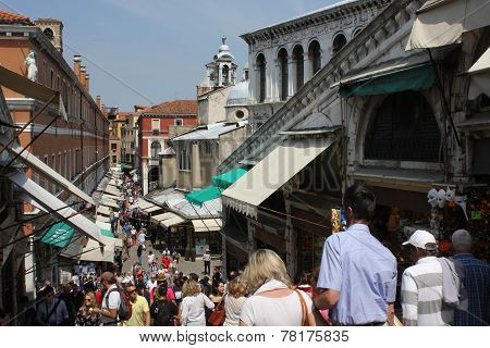 People walking on Ponte di Rialto Bridge