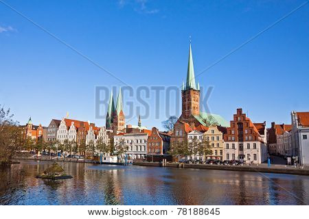 Skyline Of Lubeck Old Town, Germany