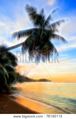 Stylized silhouette of palm on a tropical beach at sunset. Afterglow fantasy effect.