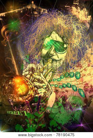 Musician: Trumpet Player (mixed Media Art)
