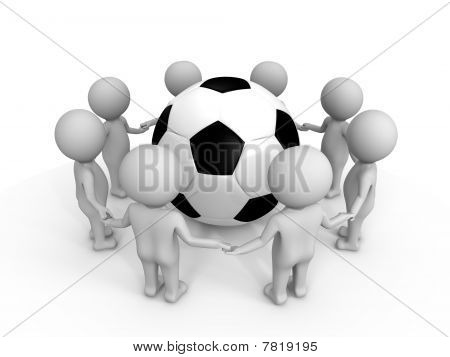 Soccer uniting the people - a 3d image