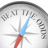 detailed illustration of a compass with beat the odds text, eps10 vector poster