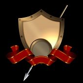 Medieval riveted shield with red ribbon and spear on black background. poster