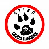 Label stamp with text Sting causes filariasis on vector illustration poster