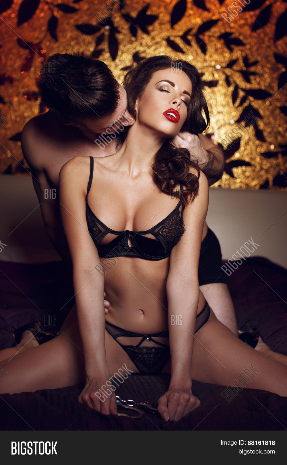 young lover kissing milf neck on image & photo | bigstock