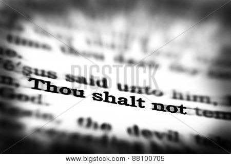Detail closeup of New Testament Scripture quote Thou Shalt Not