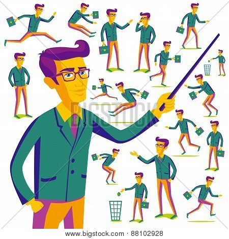 Flat People Icons Situations Web Infographic Vector Set Men Lifestyle