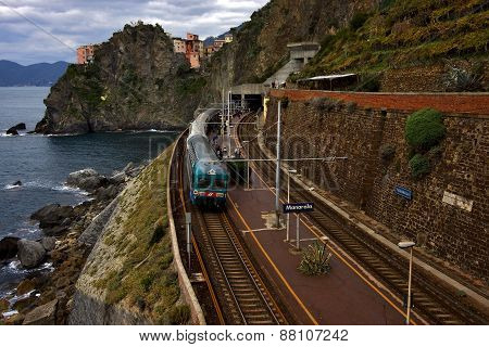 the stairs and the railway in village of manarola in the north of italyliguria poster