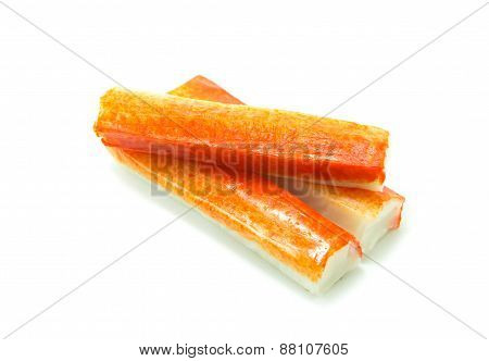 Crab Sticks Group On White Background
