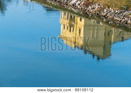 building reflected in the water, a symbol of peace, idyllic, meditation
