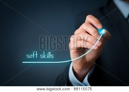 Manager (businessman) plan improve his soft skills. Soft skills training and improvement concept. poster
