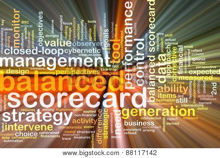 Background text pattern concept wordcloud illustration of balanced scorecard glowing light