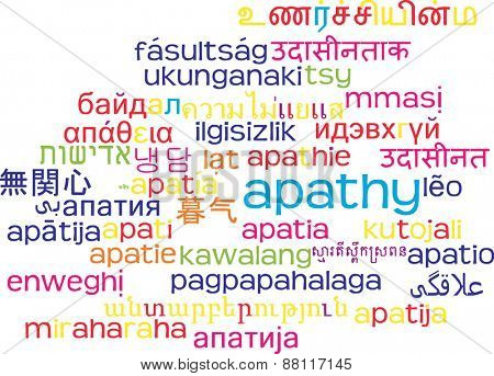 Background concept wordcloud multilanguage international many language illustration of apathy