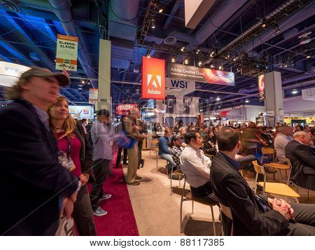 LAS VEGAS, NV - April 15: Presentation at Adobe booth at NAB Show 2015 exhibition in Las Vegas, NAB Show is an annual trade show produced by the National Association of Broadcasters.
