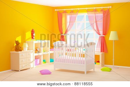 Baby Room With Floor Shelves