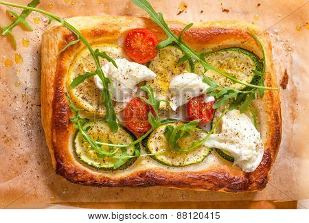 Small Pizza With Courgette, Tomato And Mozzarella Cheese
