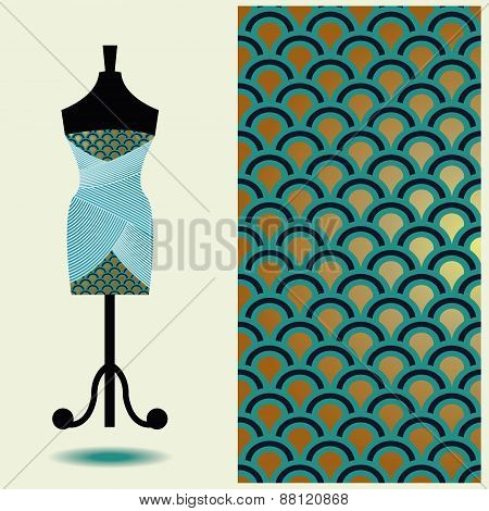 Vector Fashion Illustration, Women's Dress On  Mannequin