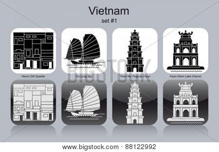 Landmarks of Vietnam. Set of monochrome icons. Editable vector illustration.