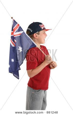Aussie Boy Holding A Flag.