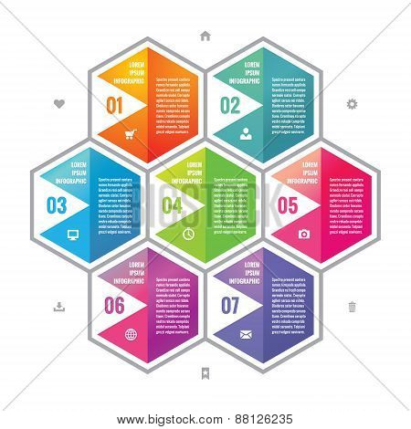 Business infographic concept colored hexagon blocks in flat style design