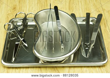 Surgical Tools On Stainless Tray