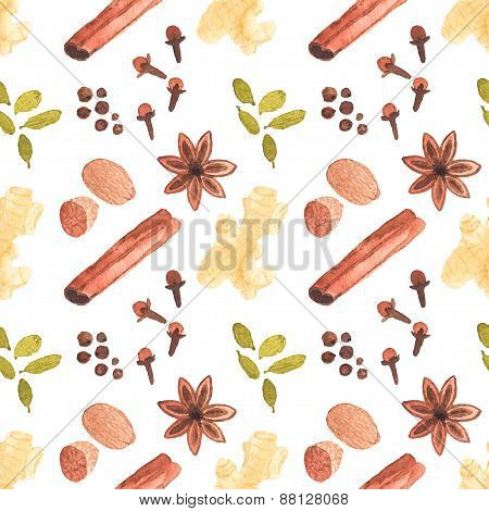 Seamless watercolor pattern with cinamon, ginger,cloves,allspice,cardamom, nutmeg, star anise on the
