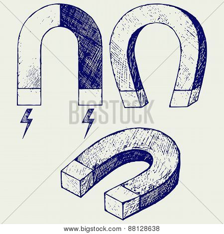 Horseshoe Magnet. Doodle style. Vector illustration on gray background poster