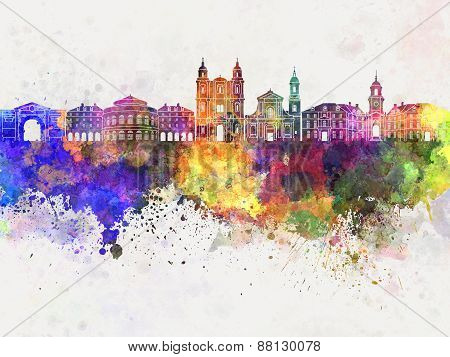 Rennes Skyline In Watercolor Background