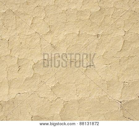 Cracked mud plaster wall closeup in sun,.  Bulgaria poster