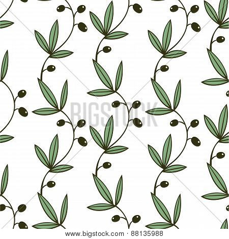 Seamless Green Olive Pattern