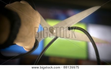 Cutting the cable on TV - concept image