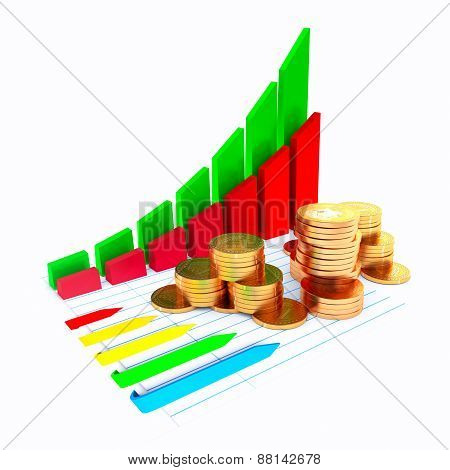 Business diagram with coins