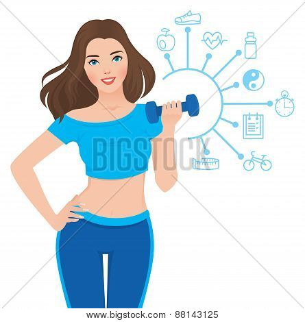 Beautiful Slim Girl And Components Of Its Success Infographics