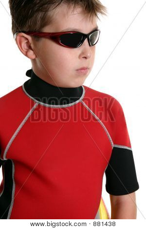Boy In Wetsuit And Sunglasses