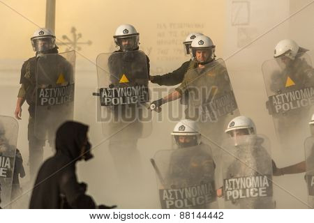 ATHENS, GREECE - APR 16, 2015: Anarchist protesters near Athens University, which has been occupied by protesters - voiced support for a hunger strike by prisoners convicted under anti-terrorism laws.