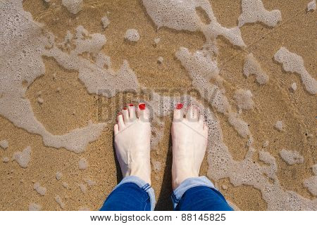 Standing in the sea on a beach
