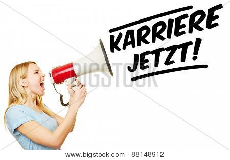 Young woman with megaphone demanding in German