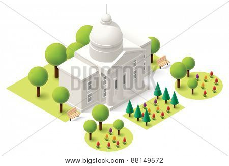 Vector isometric capitol building icon