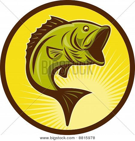 illustration of a Largemouth Bass fish jumping done in retro woodcut style poster