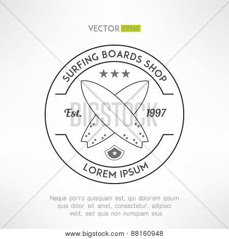 Surfing company label logo made in modern grunge vintage design. T-shirt print. Surfing shop banner.