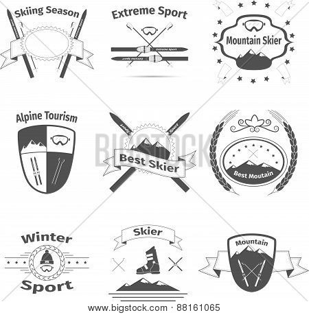 Ski and mountain logos, vector illustration