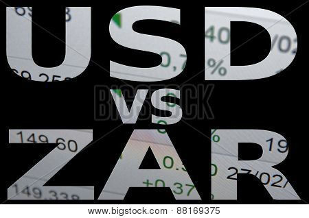 US dollar versus South African rand