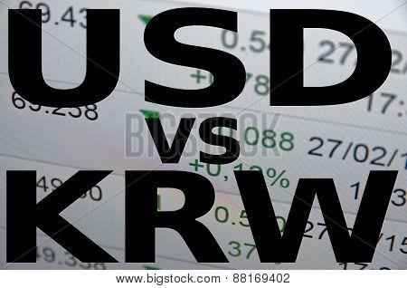 US dollar versus South Korean won (KRW). Financial background. Trading terminal. poster