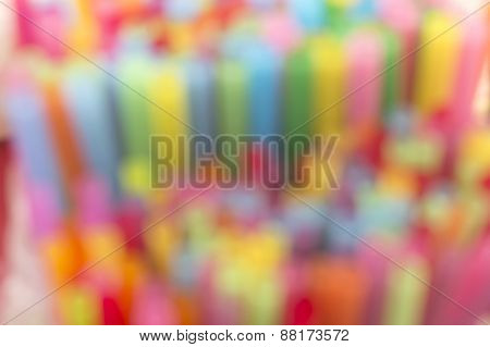 Colorful Straws. Blurred Background.