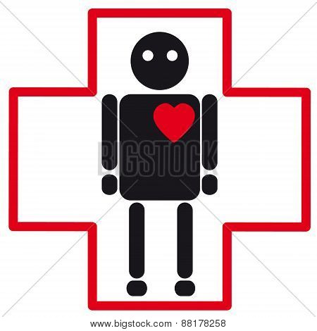Human Silhouette Medical Icon Of Heart Failure