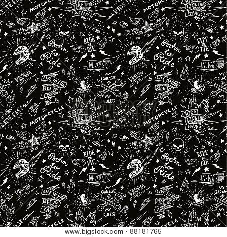 Vintage traditional tattoo biker seamless pattern,  illustration poster