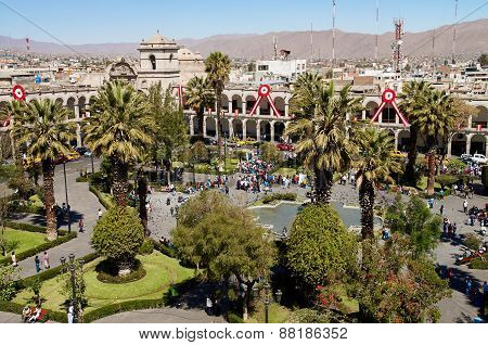 Plaza de Armas in Arequipa, Peru, South America